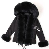 Maomaokong Black Fox Fur Collo Collare invernale Cappotto Donne Giacca Naturale Pelliccia Bunny Lined Giacca Cappotti 201027