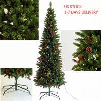 ABD hisse senedi yapay ince Noel ağacı ön aydınlatmalı kalem koniler ve meyveleri ile gerçek köknar hissediyorum 7.5ft katlanabilir metal standı W49819947