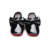 الأحمر أحذية أطفال أسفل براءات الاختراع والجلود للبنات كبيرة القوس الطفل الوليد بنات الأخفاف الرضع الأولى أحذية ووكر سرير 0-24M