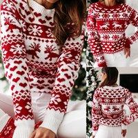Mujeres otoño invierno navidad suéter damas jersey jersey jersey suéter suéter copo de nieve alces impresión suéteres y jerseys