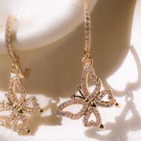 Monili delle donne di goccia New Romantic oro rosa della farfalla di colore intarsiato orecchini zircone cristallo femminile di modo dell'orecchino