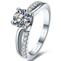 Superb 1CT NSCD gesimuleerde diamanten ring 4 tanden instellen Verlovingsring voor vrouwen Sterling zilveren verjaardag Sieraden PT950 gestempeld met doos
