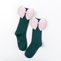 Sevimli Çocuk Çorap Yaylı Toddlers Kızlar Diz Yüksek Çorap Pamuk Uzun Çizme Çorap Çocuklar Için Bir Çift Bebek Bebek Bacak Isıtıcı 2pair / 4 adet