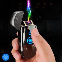 새로운 크리 에이 티브 멋진 스포츠카 이중 아크 라이터 하이 엔드 USB 충전 방풍 담배 라이터 선물 상자