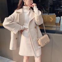 Faux del invierno de lana chaqueta y falda Conjunto de Corea del Escudo Mujer Za Mujeres Manteau mujeres otoño de la manera básica Femme gruesa Capa 201007