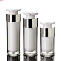 15 мл 30 мл 50 мл серебряных безвоздушных бутылок Высококачественные акриловые вакуумные бутылки насоса лосьон, используемый для косметического контейнера SN109High
