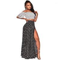 Женская одежда Прямая дань взрыва волна точка сексуальное вне плеча повседневный пляжный стиль пальто сплит длинная юбка из двух частей