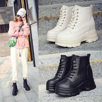 One Yona 2021 Winter New All-Match Boots Boots Platform Round Toe Tacones Square Tacón Cuadrado Lace-Up Mujer Boots1