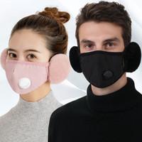 2 en 1 máscara de la válvula Orejeras de la boca cálida con máscara protectora de la oreja de lujo PM2.5 gruesa de la boca de la boca de la mufla con máscaras de ciclismo GGA3801