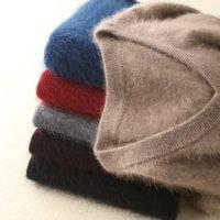 Зимняя зимняя толстая V-образным вырезом мужчины свитер MICK Cashmere Сплошные теплые шикарные пуловеры повседневные перемычки для мужчин вязаные одежды для одежды 201124