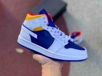 eu chaussure de planche à roulettes profonde colorway blanc 1 piste bleue orange laser rouge chaussure de course chaussu
