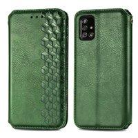 Per Samsung Galaxy A71-5G versione del telefono TPU cuoio dell'unità di elaborazione di vibrazione magnetica con slot per scheda di metallo Strap Hole (Modello: A71-5G Version)