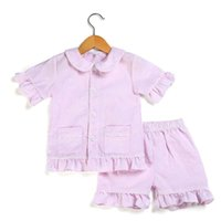 2020 Summer Spring Kids Pijamas Sets 100% algodón Seersucker PJS Toddler Sleepwear Girls Boys Sleepwearwear