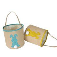 1 ADET Paskalya Bunny Tote Sepet Tavşan Kuyruk Yumurta Kova Çocuk Ev Dekorasyon Parti Güzel Hediye Tuval Ambalaj Çanta