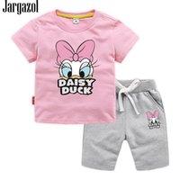 Jargazol bebê menina roupas dos desenhos animados pato impresso verão manga curta t camisashorts toddler menino vluothign conjunto crianças roupas y200525