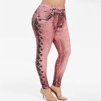 Rosegal Pull On Floral Stampato Plus Size Jeggings Donne Elastic Mid Vita Leggings Big Size Skinny Push Up Legins Donna 5XL Y200328