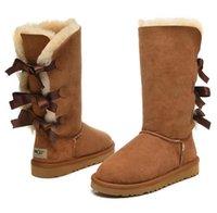 Зима Мужчины Женщины Австралия Классический Снег сапоги Длинные голеностопного короткий лук меховые Дизайнерские сапоги для зимней Повседневный платформы обувь US5-12