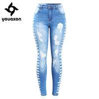 2145 YouAxon Neue Ankunft plus Größe Stretchy Ripping Jeans Frau Seite Distressed Denim Skinny Bleistift Hosen Hosen für Frauen Y200417