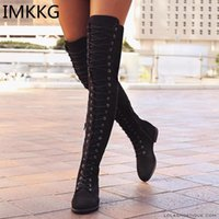BOOTS IMKKG Zapatos de mujer Sexy encaje hacia arriba sobre rodilla con caucho de tacón cuadrado Talla grande 35-43 M382
