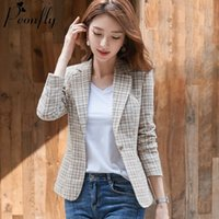 PEONFLY Women Elegant Plaid Blazer Long Sleeve Single Button Slim Checked Coat Formal Office Work Jacket Outerwear Pink Blue 201008