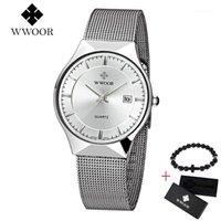 Armbanduhren Wwoor Marke Quarz Männer Uhr ultradünne Mode männliche Armbanduhr Businessuhren wasserdicht frei armband Geschenkbox uhr1