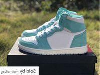 Qualidade 1 alta og turbo camurça sapatos de basquete homens 1s lago verde branco esportes sneakers novo com caixa