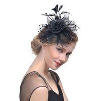 Stingy Rand Hüte Feder Mesh Net Fascinator Looped Hair Clip Blume Cocktail Party Headwear Für Mädchen und Frauen1