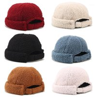 Men Women Winter Warm Fuzzy Plush Beanie Cap Solid Color Vin...
