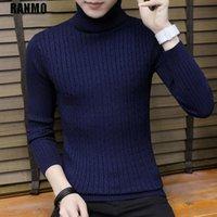 Ranmo 겨울 따뜻한 터틀넥 스웨터 남성 긴 소매 슬림 캐주얼 풀오버 탑스 브랜드 패션 니트 스웨터 점퍼 남자 옷