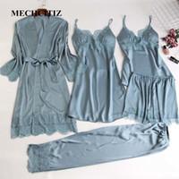 Mechcitiz 5 pezzi Pigiama di seta Set Donne Satin Sleepwear Abora Pantaloni Autumn Pijamas Accappatoio Sexy Lingerie Lace Inverno Pigiama Y200107