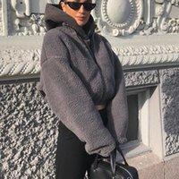 Faída de las mujeres Faux Yiciay Femenino Streetwear LambSool Casual Fuax Abrigos Mujeres Cálido otoño Gris Cultivo Chaqueta Moda Manga larga Abrigo