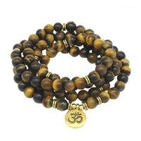 Encanto pulseras natural tigre ojo 108 mala pulsera budista 8 mm perlas hombres yoga mujer piedra joyería