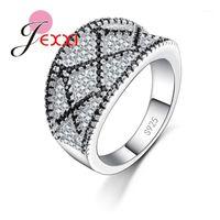 Anillos de racimo Marca de calidad superior de calidad Cubic ZONIA CZ Crystal Party para mujer y hombres 925 Silver Vintage Jewellery1
