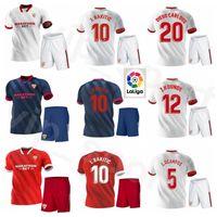 2020 2021 Fútbol Sevilla 10 Ever Banega Jersey Set 5 Lucas Ocampos 16 Jesús Navas Luuk de Jong Camisa de Fútbol Rakitic Sevilla Kits