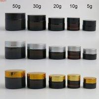 10 x 5 g 10 g 20 g 30 g 50 g Portátil Pequeño tarros Poticilla Maquillaje Maquillaje Nail Art Cosmetic Bead Almacenamiento Contenedor Amber Crema Crema Jargood Cualtidad