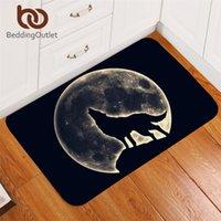 Tapis Beddinglettlet Chaîne sauvage Tapis Howling Wolf Entrée Porchemandes Entrée colorée Chambre à coucher Coloré Tapis de plancher 3D Moon 3D