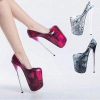 Горячие женские туфли насосы насосы сопротивления Queen CD супер высокий каблук 22см шпилька водонепроницаемая платформа модель T сцена шоу женская свадебная обувь # S197