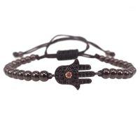 Mens Hamsa Bracelet,Micro Pave Black CZ Hamsa Hand Connector Braided Macrame Mens Evil Eye Bracelet Women Jewelry1
