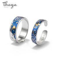 Thaya s925 silver Van Gogh's Enamel couple rings Sky Star moon Glitter Rings Engagement Ring Wedding Jewelry For Women 201114
