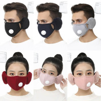2 In 1 Face Mask Cover With filters Plush Ear Protective Mask PM2.5 Thick Warm Mouth Masks Winter Mouth-Muffle Earflap 6 Styles 2020