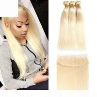 9A Brasilianisches reines Haar # 613 Blond 3 Bündel mit 13 * 4 Frontalverschluss Top Spitze Frontal und Bündel Seide Gerade Haarbündel und Frontal
