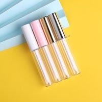 Reise nachfüllbar Lippenstift Probe Container Runde 10 ml Klare Flasche Weiß Rosa Gold Leere Mascara Lipgloss Röhrchen Container mit Pinsel