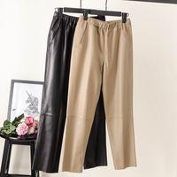 Moda Kadın Pantolon 100% Hakiki Koyun Deri Gerçek Koyun Deri Kırpma Kot Elastik Kemer Bel Pantolon Q0112