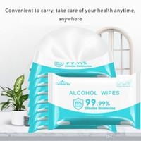 10pcs / pack portatile 75% salviette alcool 180mm * 150mm Anti wipe wipe disinfezione della sterilizzazione detergente antisettico cleanica fy2020