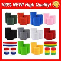 200 Conjuntos / Lote 100% Algodão Nova Qualidade Azul Vermelho Vermelho Roxo Roxo Verde Verde Laranja Pulseiras Sweatbands Factory Onlie Store Free Personalizado