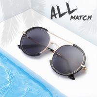 Moderne Retro Sonnenbrille Frauen Bunte UV-beständige Rundrahmen Sonnenbrille TXTON