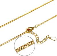 Chains Chains S925 colar de prata banhado em ouro 18K Cobra caixa transversal DIY Colar Jóias 40 centímetros + 4 centímetros 1 milímetro grosso