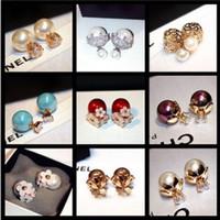 Pendientes de perlas de flores de diamante de doble cara New INS Pendientes de diseñador de moda popular para mujeres niñas