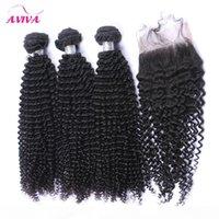 몽골 변태 곱슬 처녀 머리 폐쇄 5pcs 로트 4 번잡이가있는 레이스 폐쇄 4 번잡이없는 아프리카 kinky 곱슬 곱슬 처녀 인간의 머리카락