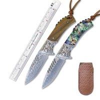 Neues handgemachtes Klappmesser Natürlicher Holzgriff Damas Klinge, Männliche und weibliche Outdoor EDC Selbstverteidigung Werkzeug, Geschenkmesser